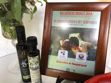 Olive oil from the Geopark and advert of the 9th European Geopark week