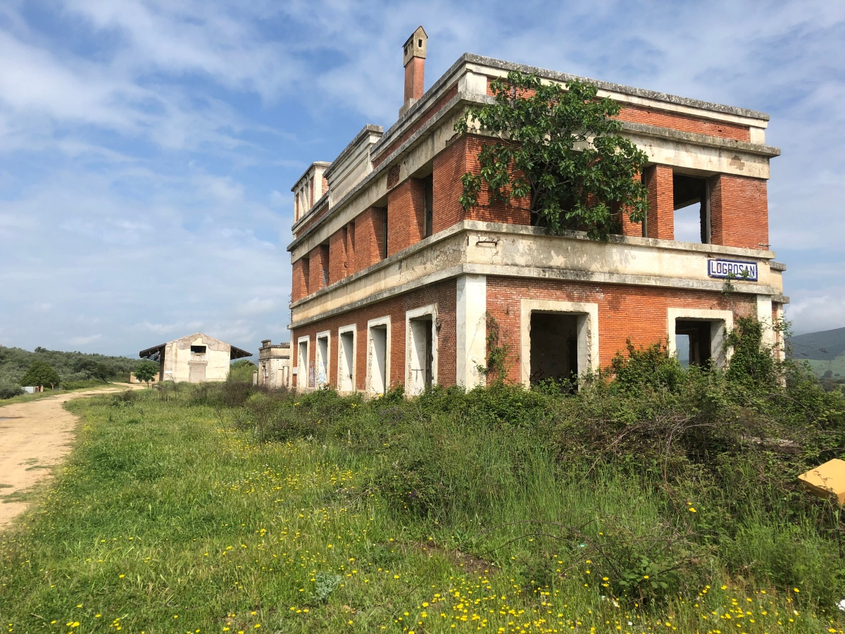 decommissioned train station of Logrosán in Geopark Villuercas, Vía verde and camino natural de las villuercas