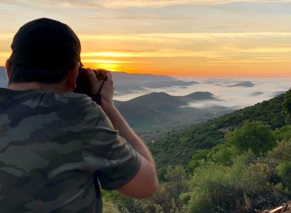 Abel shooting the Sunrise on Geopark Villuercas